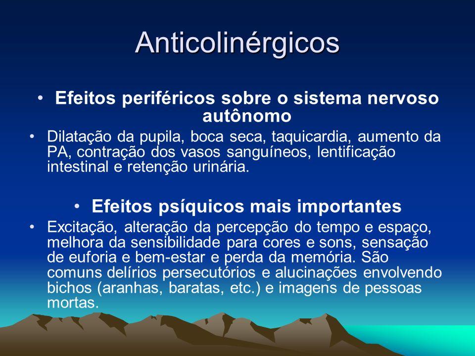 Anticolinérgicos Efeitos periféricos sobre o sistema nervoso autônomo