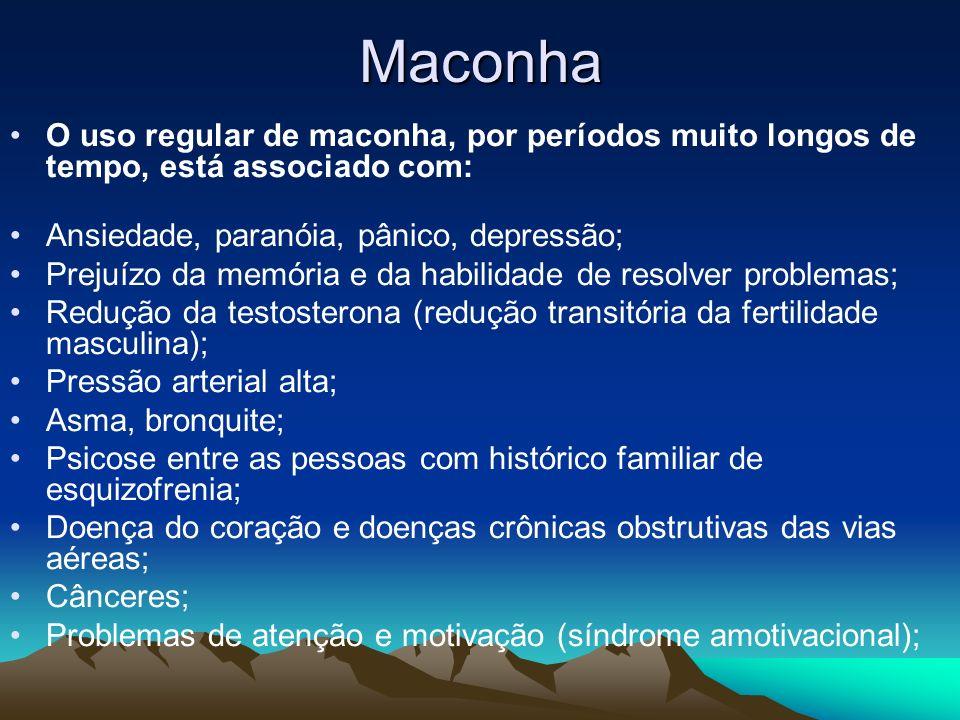 MaconhaO uso regular de maconha, por períodos muito longos de tempo, está associado com: Ansiedade, paranóia, pânico, depressão;