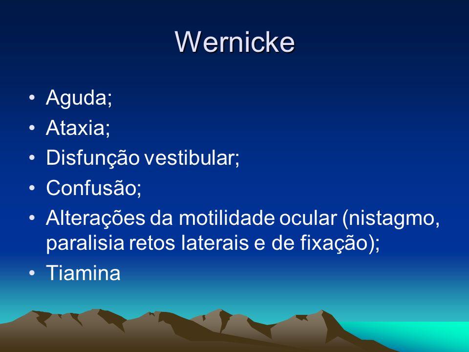 Wernicke Aguda; Ataxia; Disfunção vestibular; Confusão;
