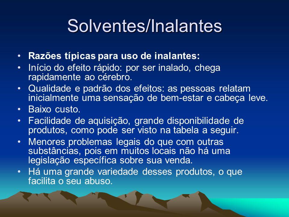 Solventes/Inalantes Razões típicas para uso de inalantes: