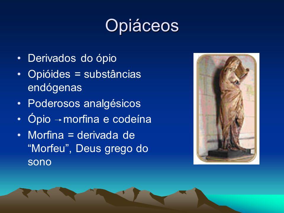 Opiáceos Derivados do ópio Opióides = substâncias endógenas
