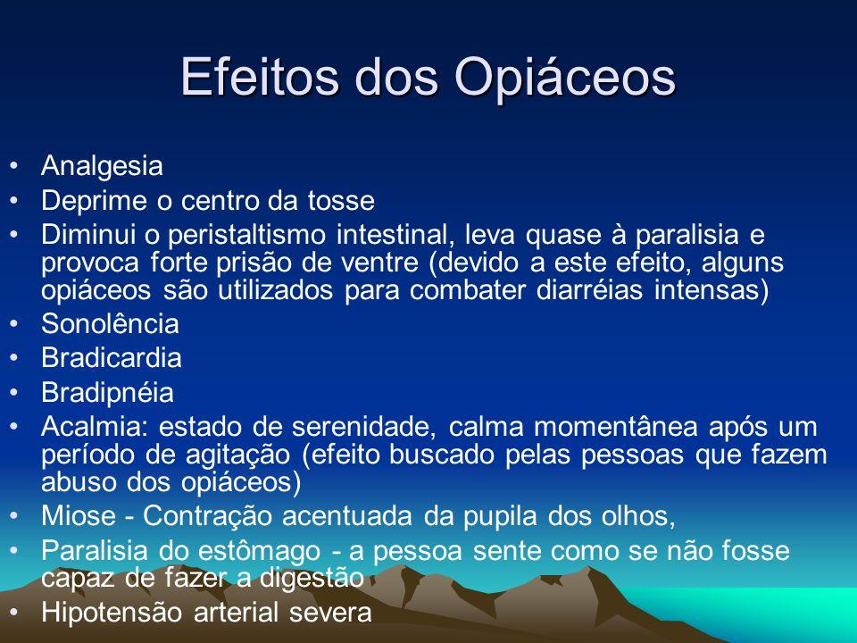 Efeitos dos Opiáceos Analgesia Deprime o centro da tosse