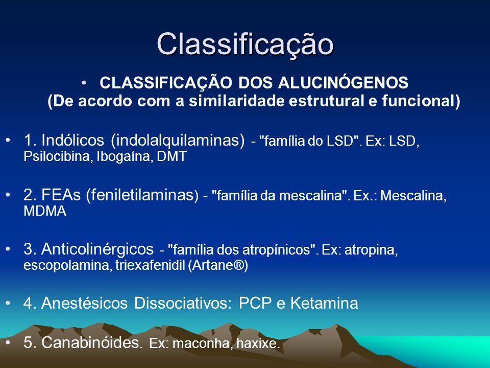 Classificação CLASSIFICAÇÃO DOS ALUCINÓGENOS (De acordo com a similaridade estrutural e funcional)