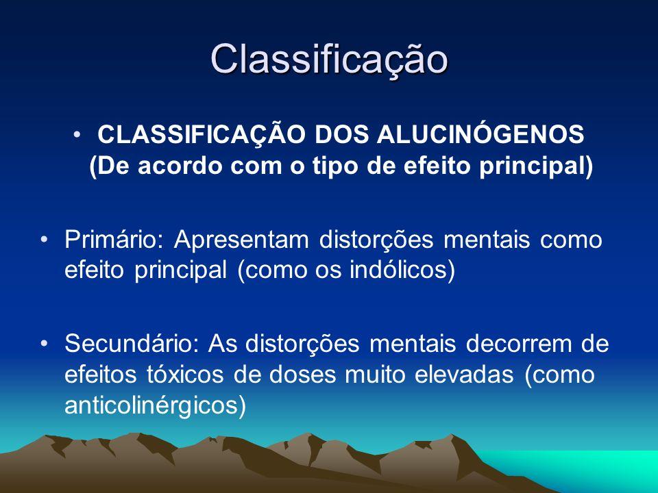 Classificação CLASSIFICAÇÃO DOS ALUCINÓGENOS (De acordo com o tipo de efeito principal)