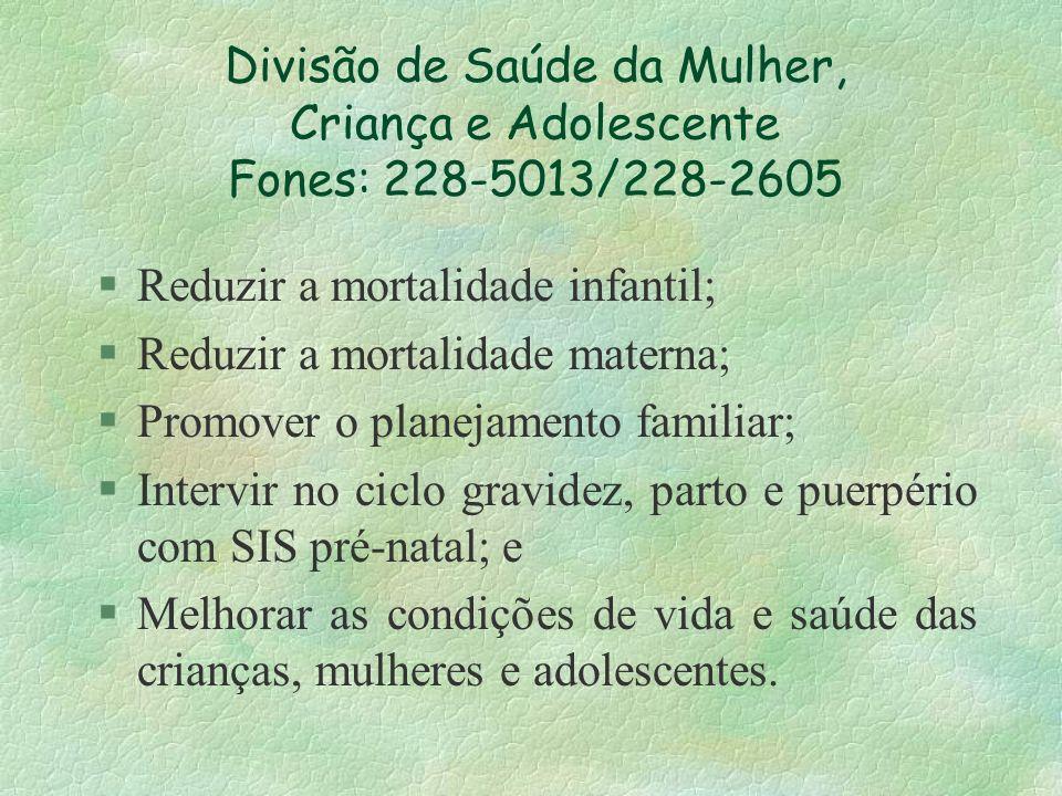 Divisão de Saúde da Mulher, Criança e Adolescente Fones: 228-5013/228-2605