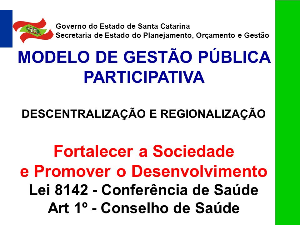 MODELO DE GESTÃO PÚBLICA PARTICIPATIVA