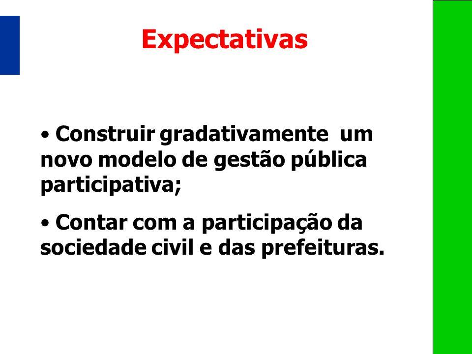 Expectativas Construir gradativamente um novo modelo de gestão pública participativa;