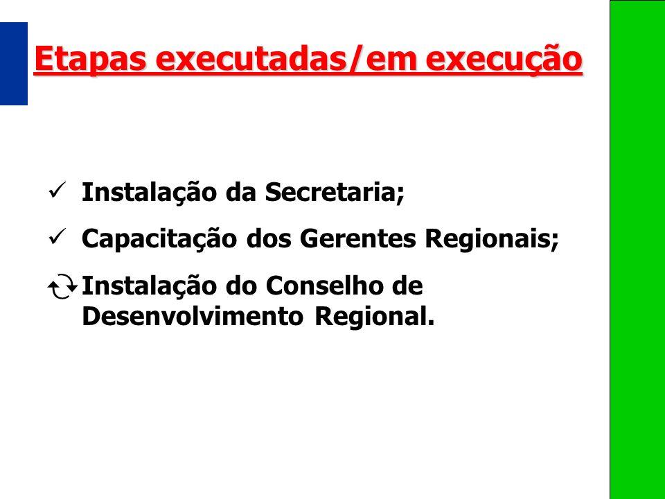 Etapas executadas/em execução
