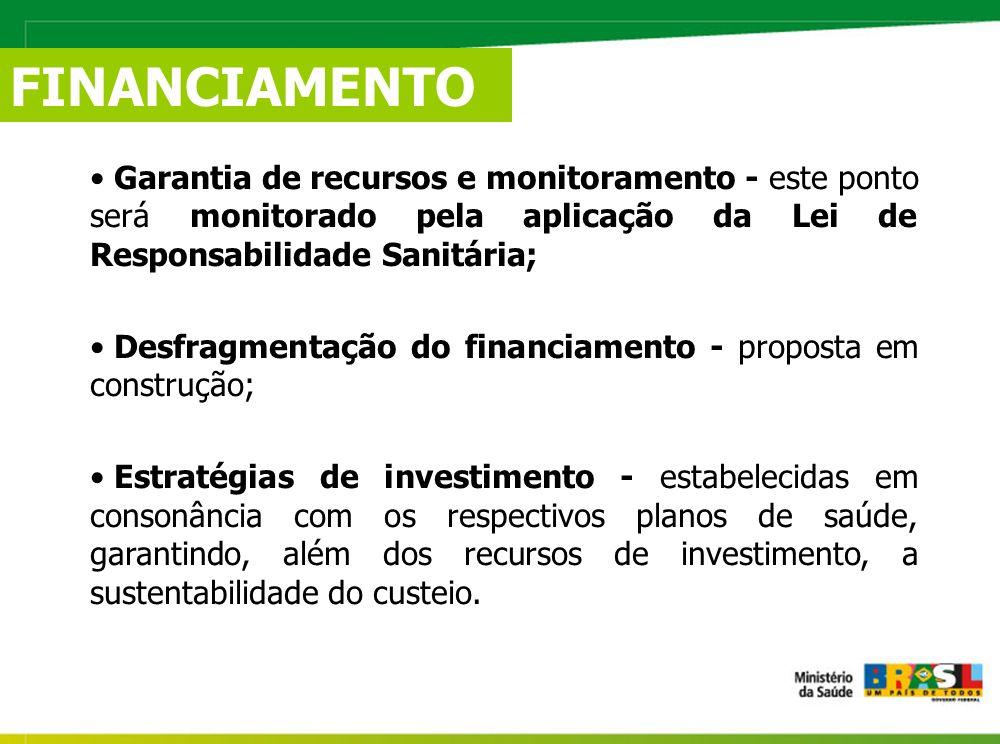 FINANCIAMENTO Garantia de recursos e monitoramento - este ponto será monitorado pela aplicação da Lei de Responsabilidade Sanitária;