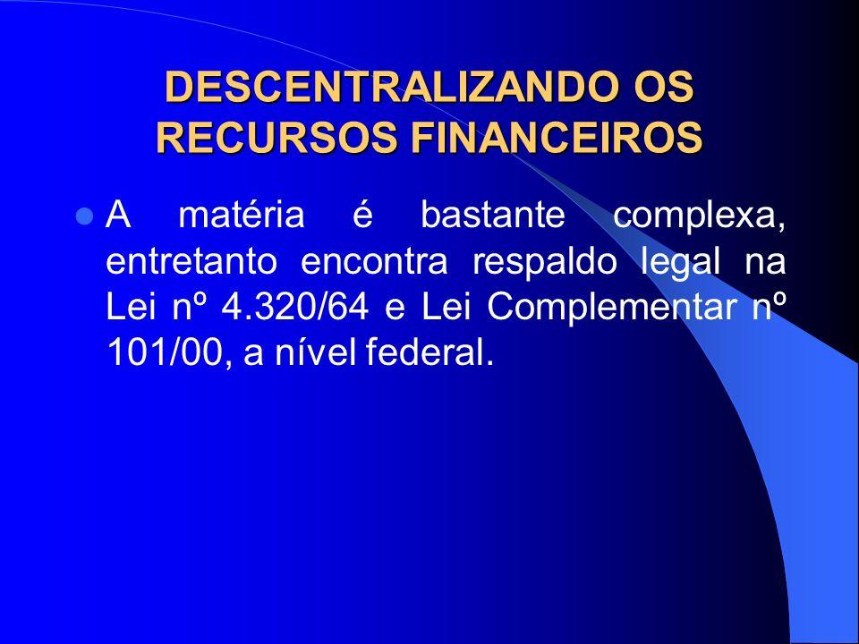 DESCENTRALIZANDO OS RECURSOS FINANCEIROS