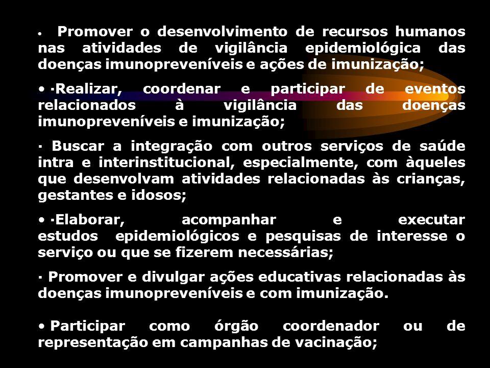 · Promover o desenvolvimento de recursos humanos nas atividades de vigilância epidemiológica das doenças imunopreveníveis e ações de imunização;