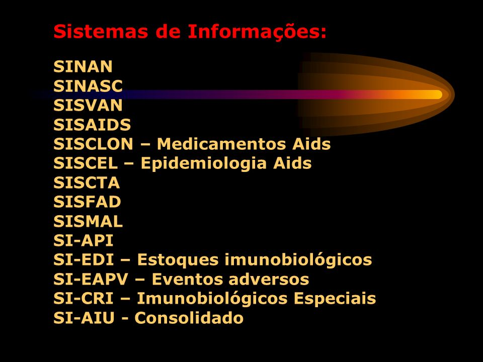 Sistemas de Informações: SINAN SINASC SISVAN SISAIDS SISCLON – Medicamentos Aids SISCEL – Epidemiologia Aids SISCTA SISFAD SISMAL SI-API SI-EDI – Estoques imunobiológicos SI-EAPV – Eventos adversos SI-CRI – Imunobiológicos Especiais SI-AIU - Consolidado