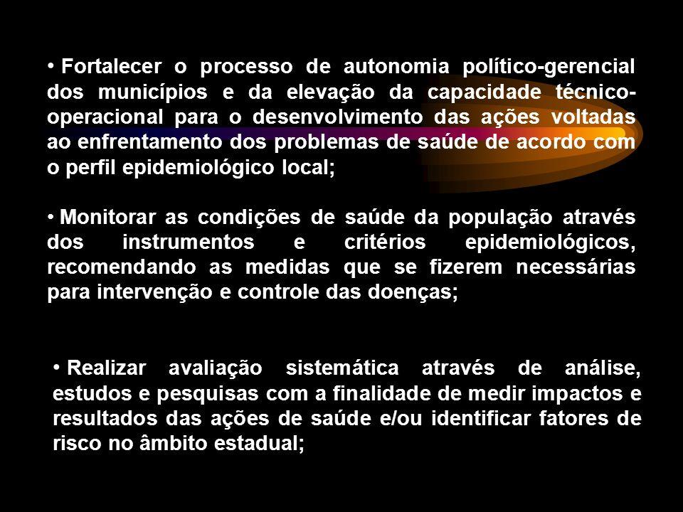Fortalecer o processo de autonomia político-gerencial dos municípios e da elevação da capacidade técnico-operacional para o desenvolvimento das ações voltadas ao enfrentamento dos problemas de saúde de acordo com o perfil epidemiológico local;