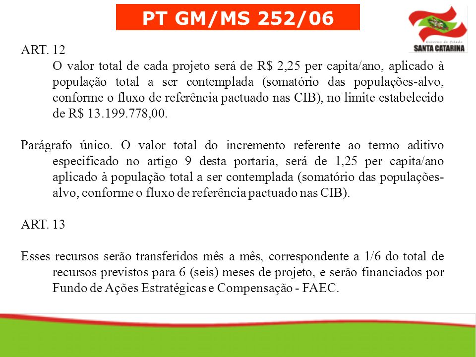 PT GM/MS 252/06 ART. 12.