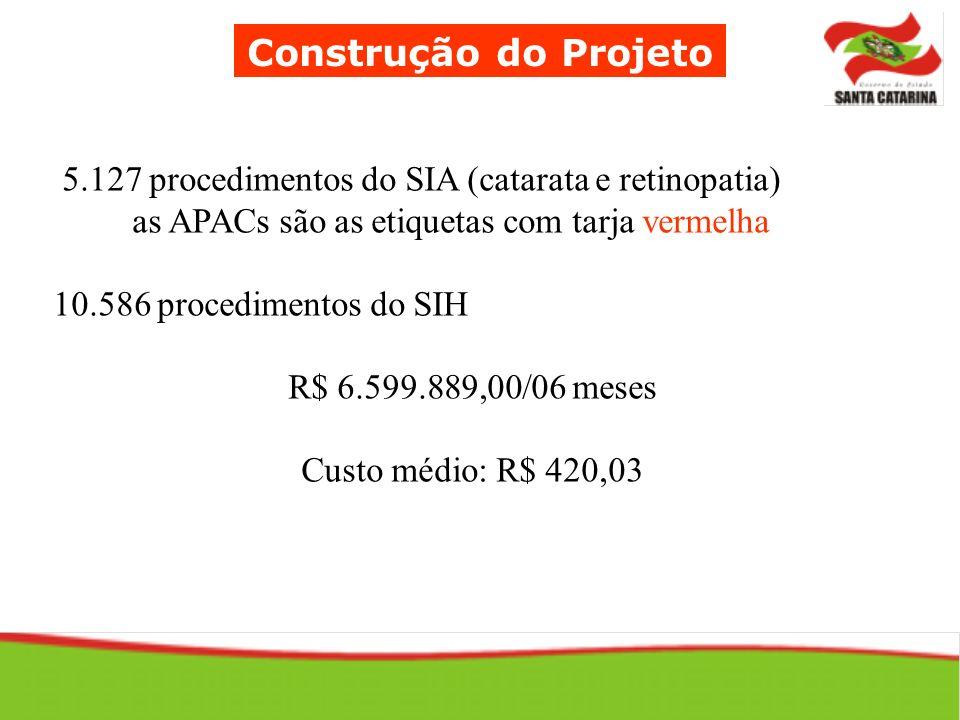 Construção do Projeto 5.127 procedimentos do SIA (catarata e retinopatia) as APACs são as etiquetas com tarja vermelha.