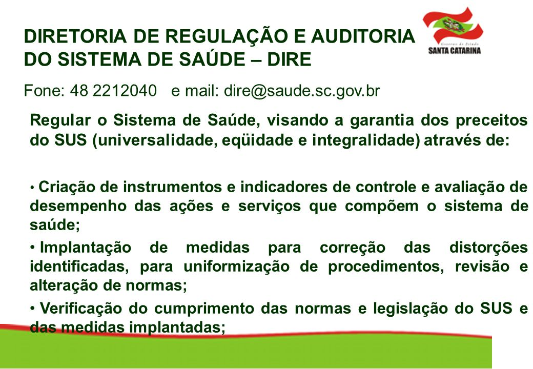 DIRETORIA DE REGULAÇÃO E AUDITORIA DO SISTEMA DE SAÚDE – DIRE