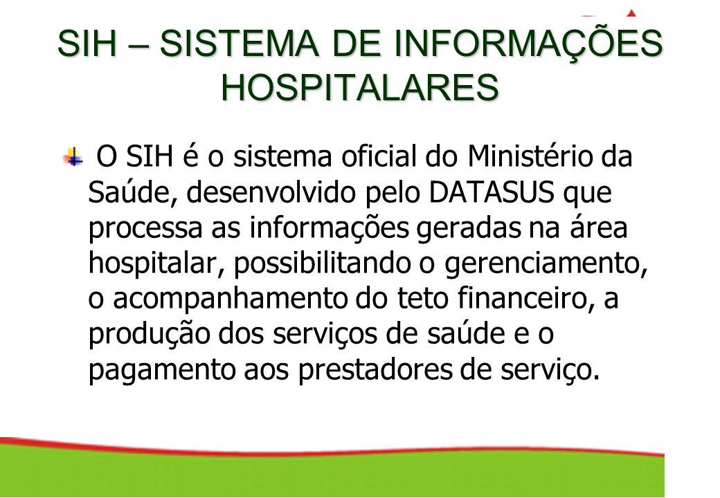 SIH – SISTEMA DE INFORMAÇÕES HOSPITALARES