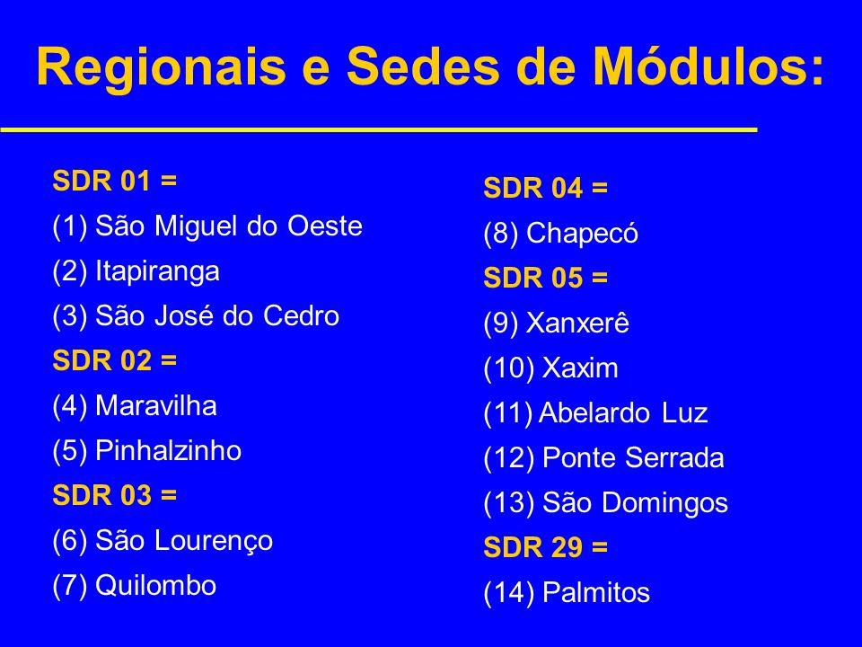 Regionais e Sedes de Módulos: