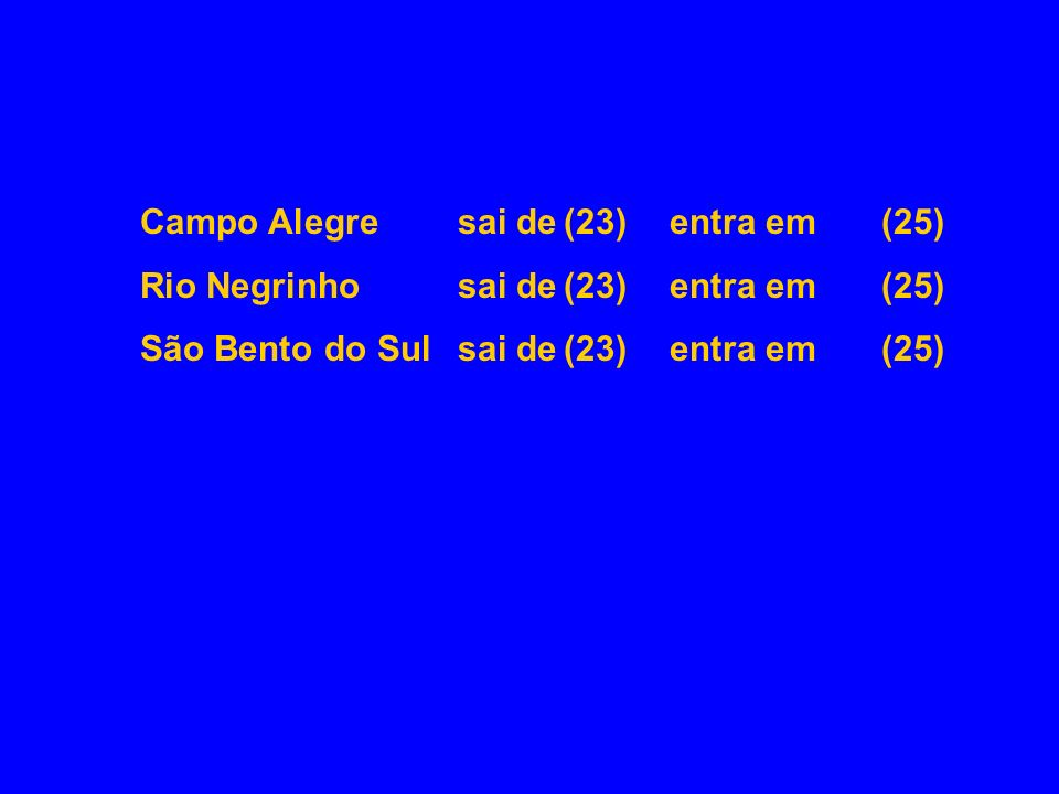 Campo Alegre sai de (23) entra em (25)