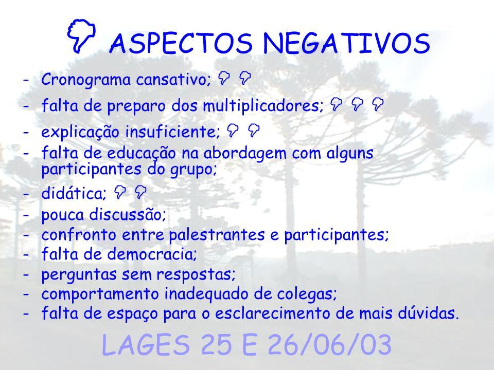  ASPECTOS NEGATIVOS LAGES 25 E 26/06/03 Cronograma cansativo;  