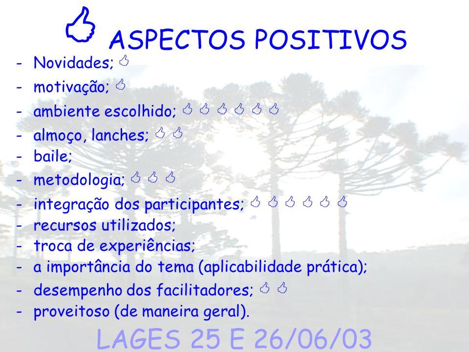  ASPECTOS POSITIVOS LAGES 25 E 26/06/03 Novidades;  motivação; 