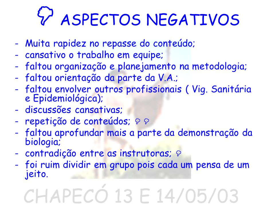  ASPECTOS NEGATIVOS CHAPECÓ 13 E 14/05/03