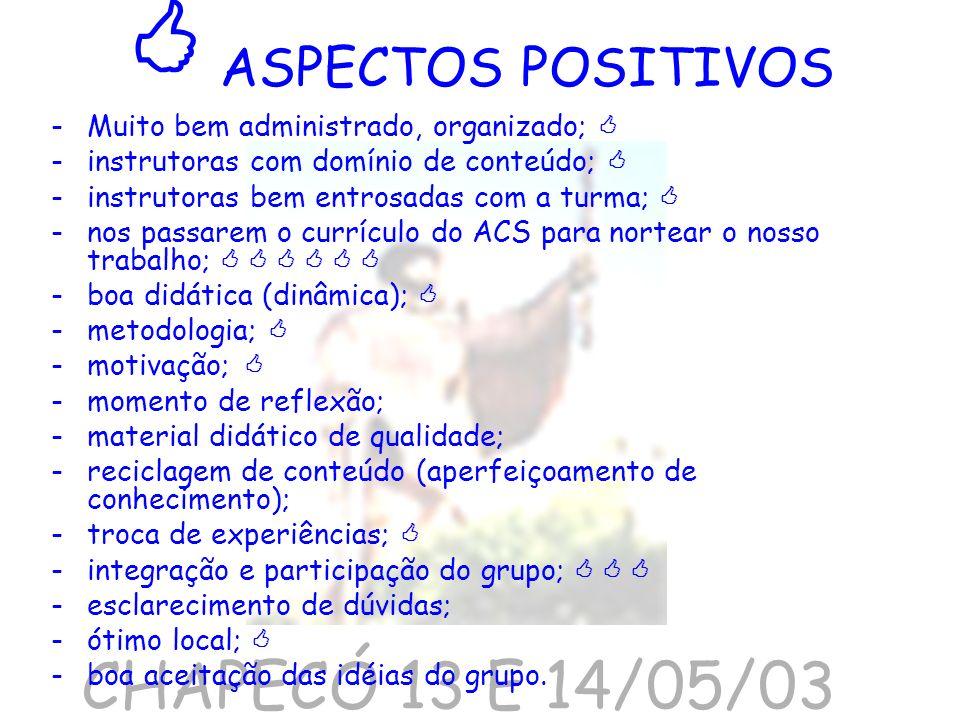  ASPECTOS POSITIVOS CHAPECÓ 13 E 14/05/03