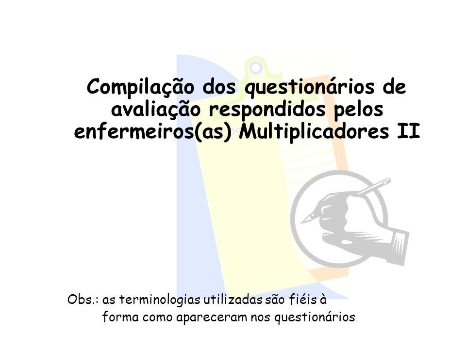 Compilação dos questionários de avaliação respondidos pelos enfermeiros(as) Multiplicadores II