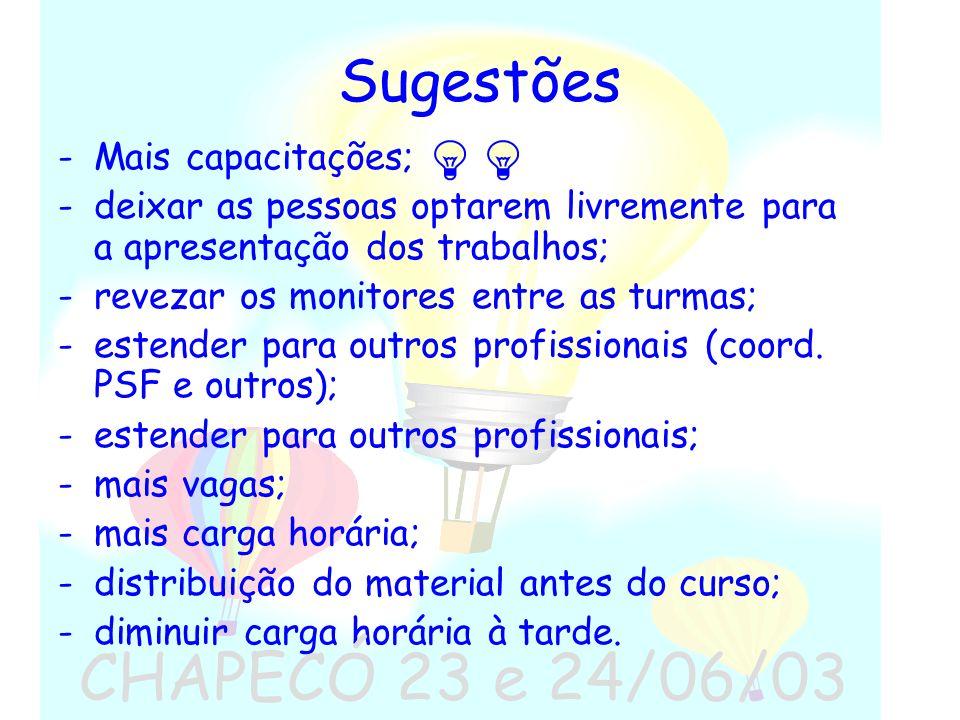 CHAPECÓ 23 e 24/06/03 Sugestões Mais capacitações;