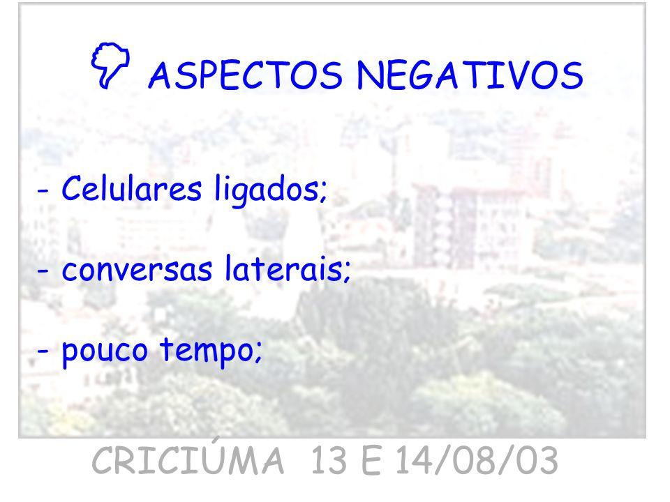  ASPECTOS NEGATIVOS CRICIÚMA 13 E 14/08/03 Celulares ligados;