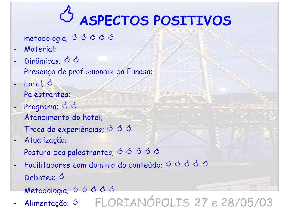  ASPECTOS POSITIVOS FLORIANÓPOLIS 27 e 28/05/03
