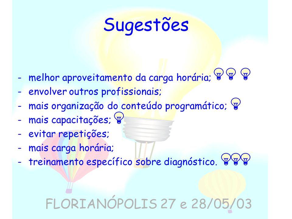 Sugestões FLORIANÓPOLIS 27 e 28/05/03