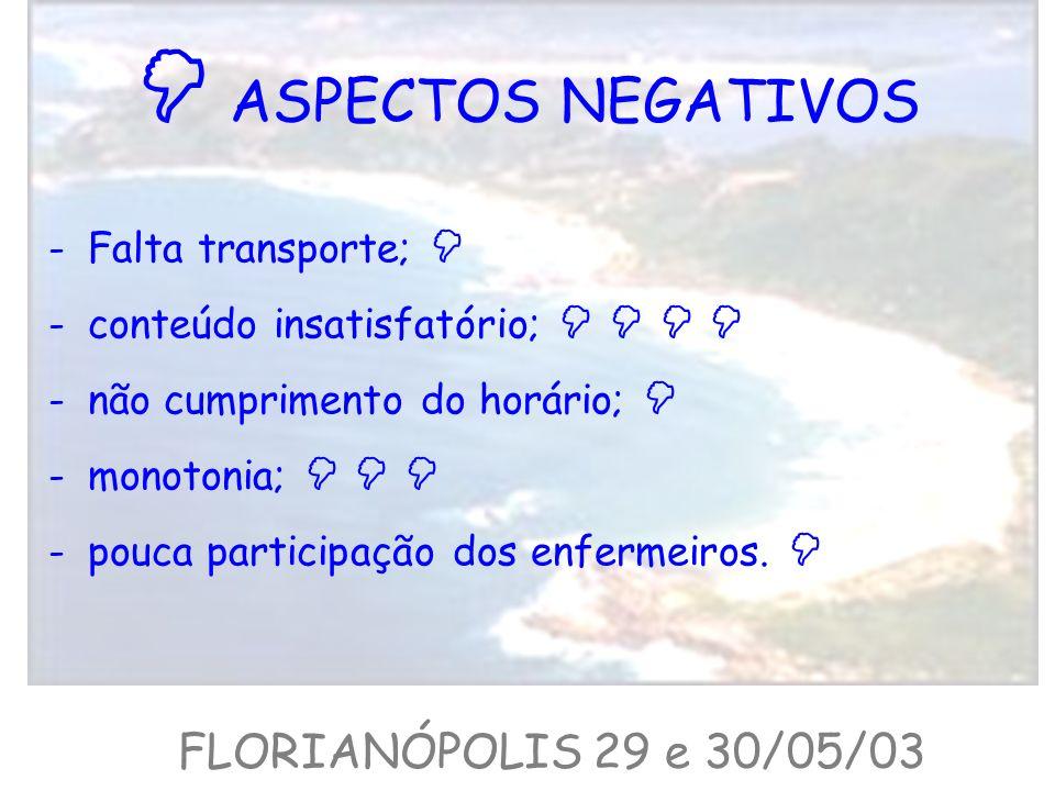  ASPECTOS NEGATIVOS FLORIANÓPOLIS 29 e 30/05/03 Falta transporte; 