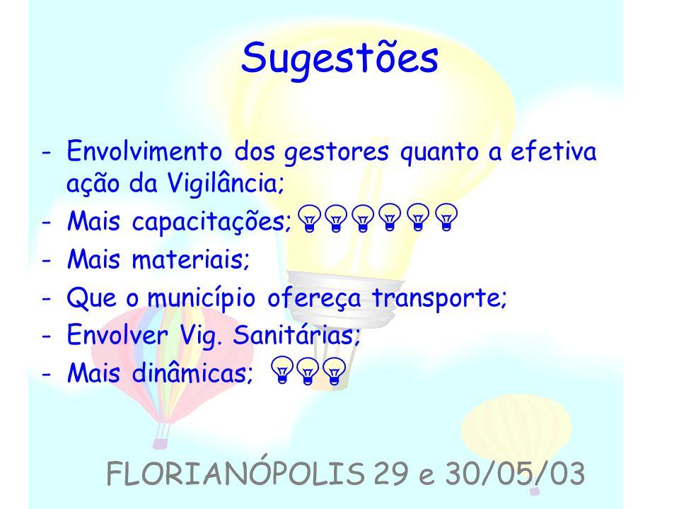 Sugestões FLORIANÓPOLIS 29 e 30/05/03