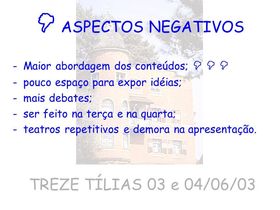  ASPECTOS NEGATIVOS TREZE TÍLIAS 03 e 04/06/03
