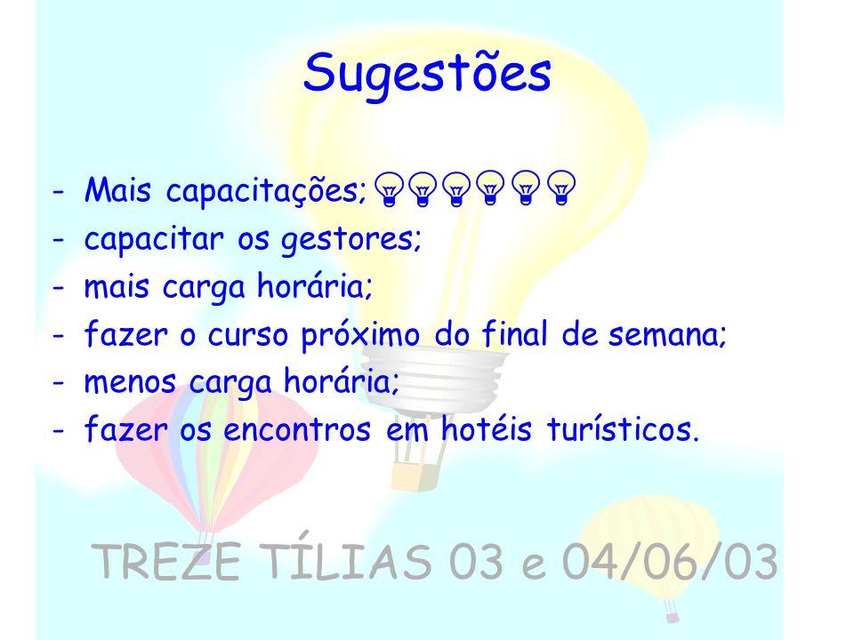 Sugestões TREZE TÍLIAS 03 e 04/06/03 Mais capacitações;