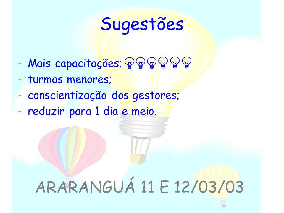 Sugestões ARARANGUÁ 11 E 12/03/03 Mais capacitações; turmas menores;