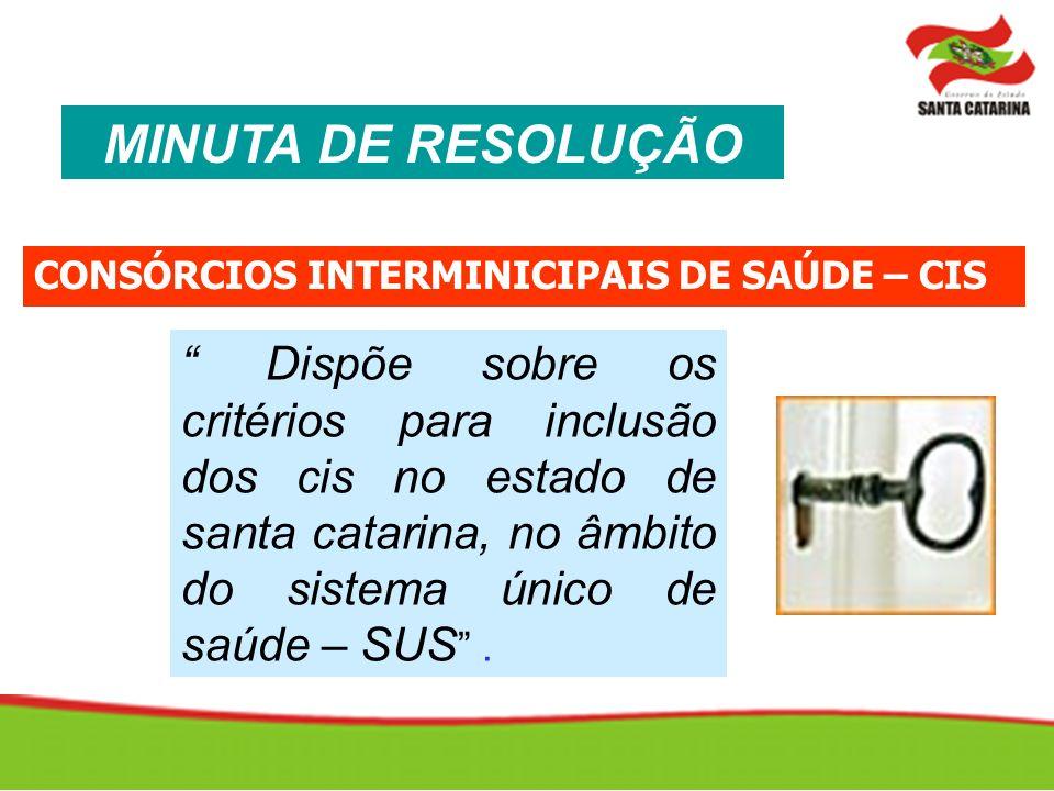 MINUTA DE RESOLUÇÃO CONSÓRCIOS INTERMINICIPAIS DE SAÚDE – CIS.
