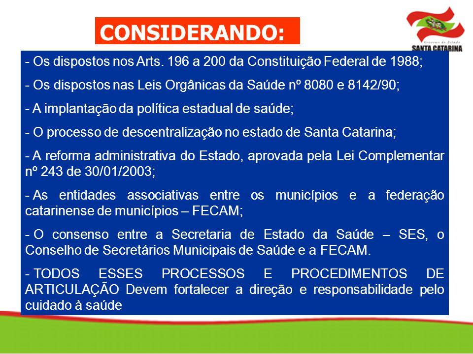 CONSIDERANDO: - Os dispostos nos Arts. 196 a 200 da Constituição Federal de 1988; Os dispostos nas Leis Orgânicas da Saúde nº 8080 e 8142/90;