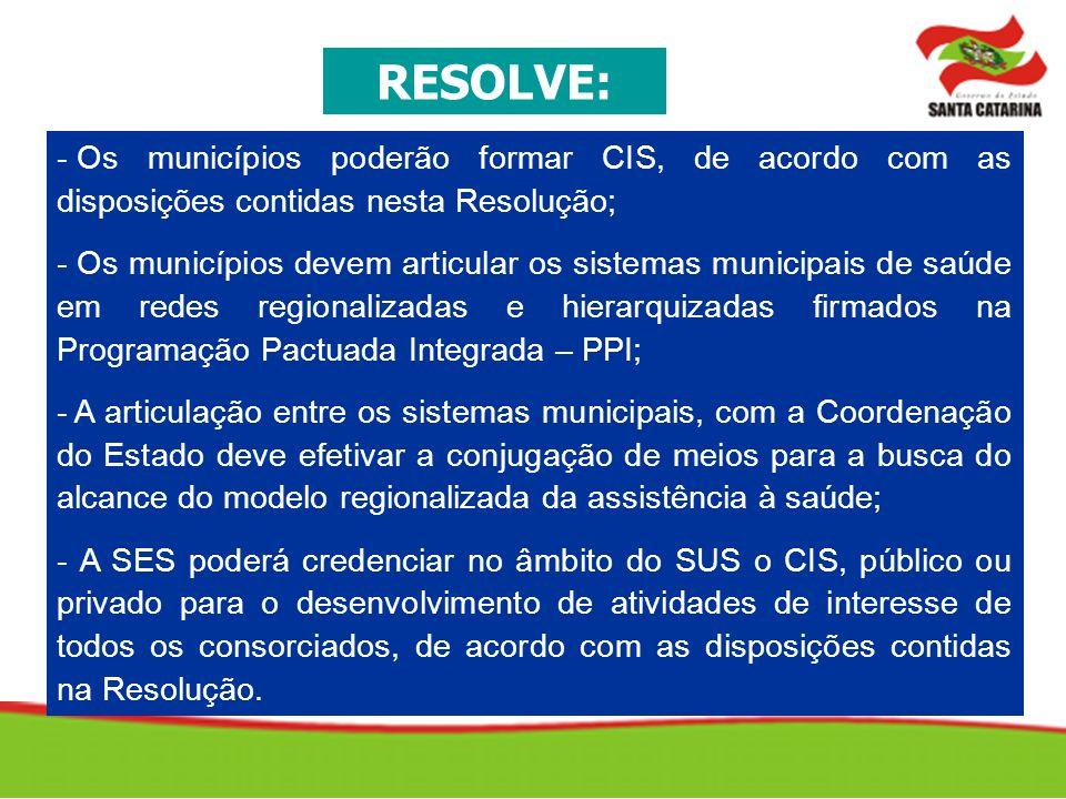 RESOLVE: Os municípios poderão formar CIS, de acordo com as disposições contidas nesta Resolução;