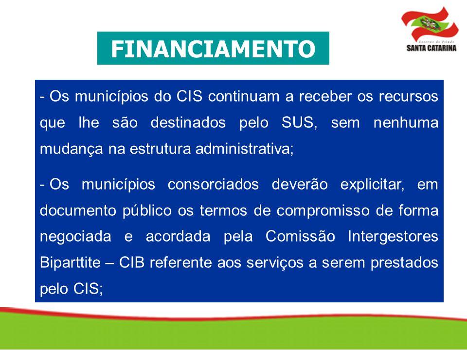FINANCIAMENTO Os municípios do CIS continuam a receber os recursos que lhe são destinados pelo SUS, sem nenhuma mudança na estrutura administrativa;