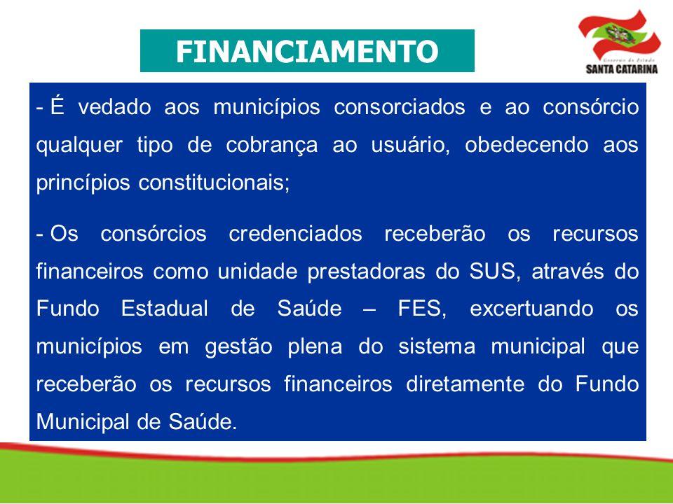 FINANCIAMENTO É vedado aos municípios consorciados e ao consórcio qualquer tipo de cobrança ao usuário, obedecendo aos princípios constitucionais;