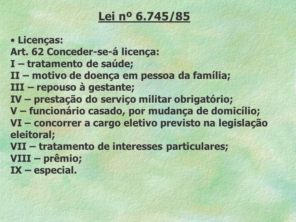 Lei nº 6.745/85 Licenças: Art. 62 Conceder-se-á licença: