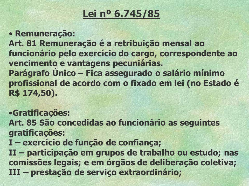 Lei nº 6.745/85 Remuneração: