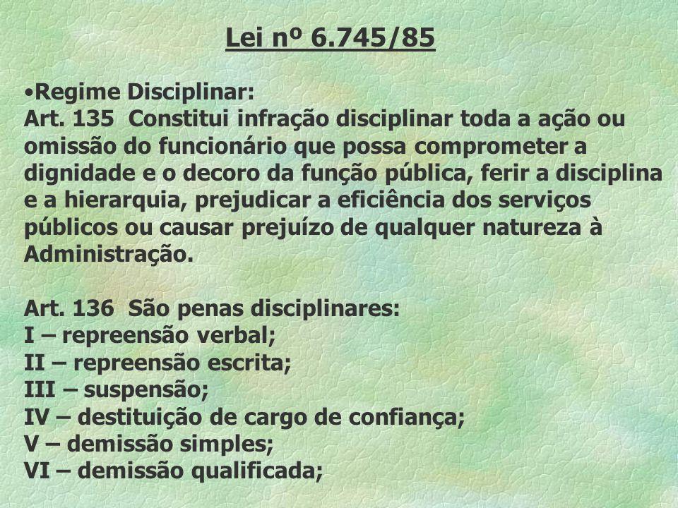 Lei nº 6.745/85 Regime Disciplinar: