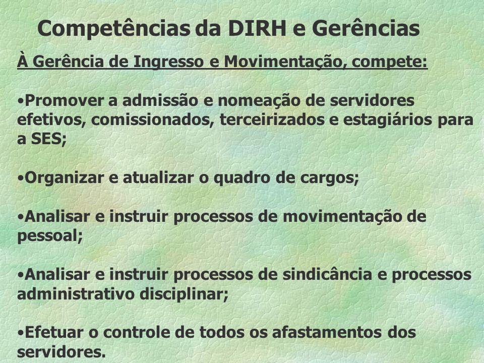 Competências da DIRH e Gerências