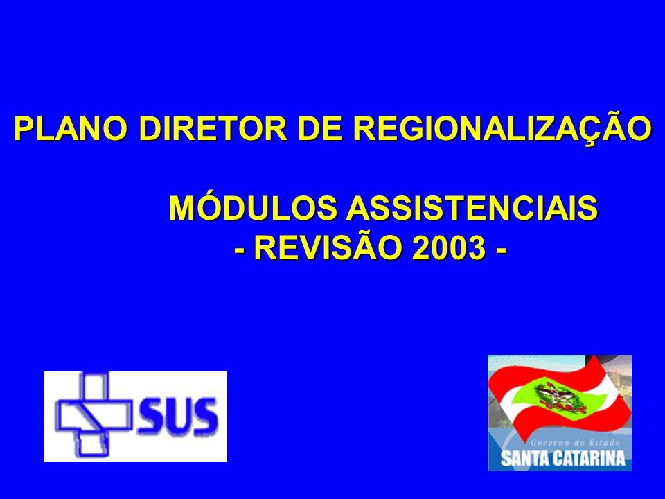 PLANO DIRETOR DE REGIONALIZAÇÃO MÓDULOS ASSISTENCIAIS
