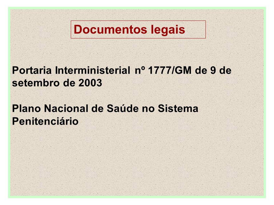 Portaria Interministerial nº 1777/GM de 9 de setembro de 2003 Plano Nacional de Saúde no Sistema Penitenciário
