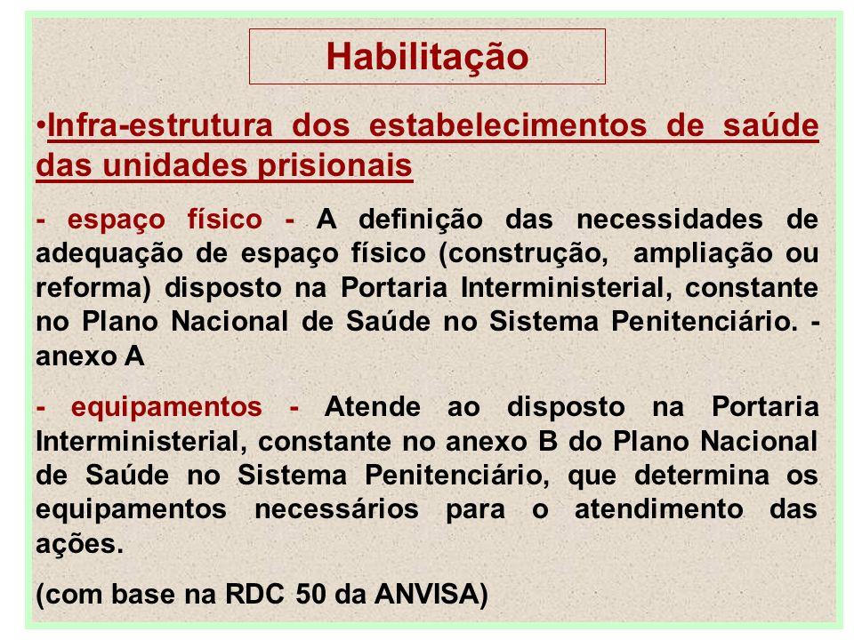 Habilitação Infra-estrutura dos estabelecimentos de saúde das unidades prisionais.