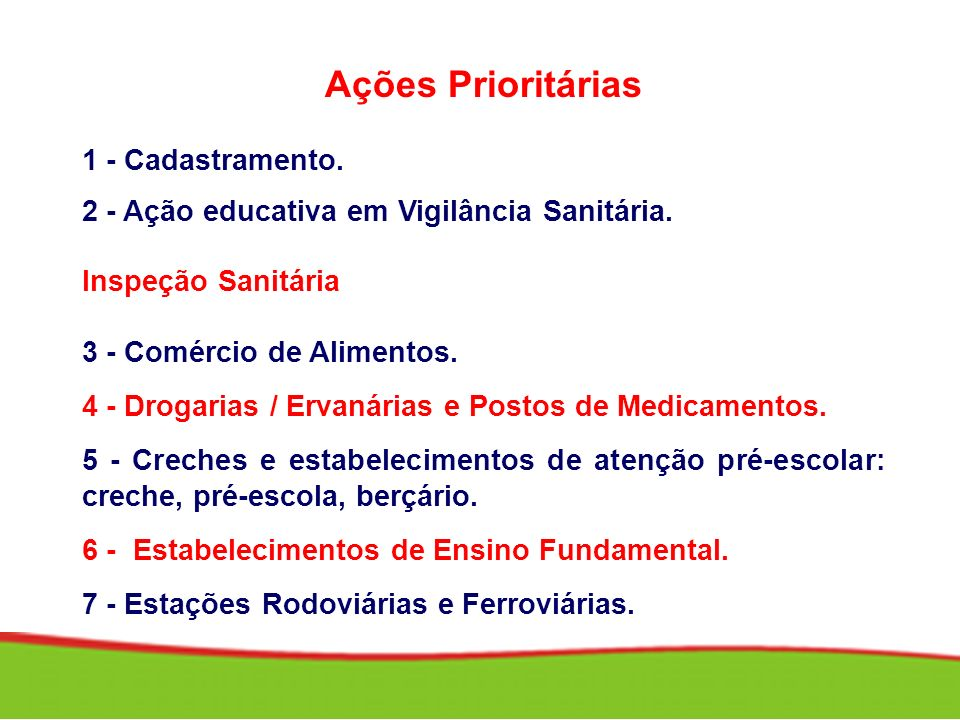 Ações Prioritárias 1 - Cadastramento.
